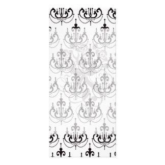 black chandelier on white modern damask design custom rack card