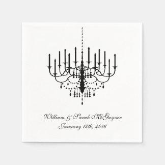 Black Chandelier Wedding Paper  Napkins