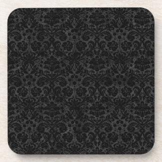 Black Charcoal Damask Beverage Coasters