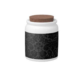 Black Charcoal Damask Candy Jar