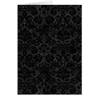 Black Charcoal Damask Card