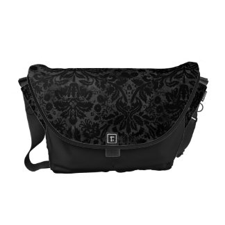 Black Charcoal Damask Courier Bags