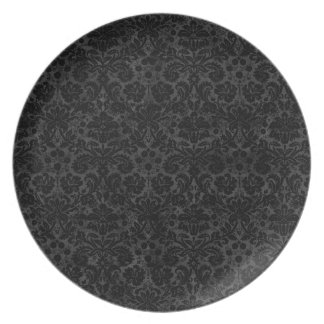 Black Charcoal Damask Dinner Plate