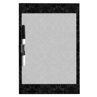 Black Charcoal Damask Dry Erase Whiteboards