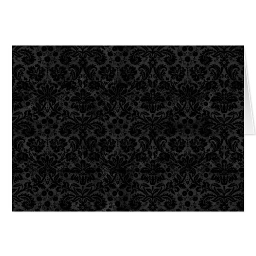 Black Charcoal Damask Greeting Cards