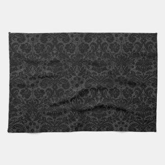 Black Charcoal Damask Hand Towels