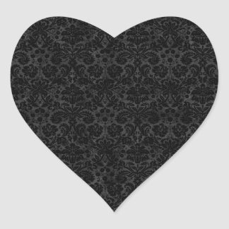Black Charcoal Damask Heart Stickers