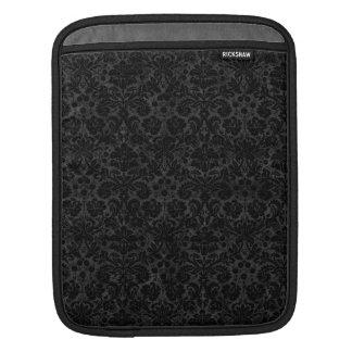 Black Charcoal Damask iPad Sleeves
