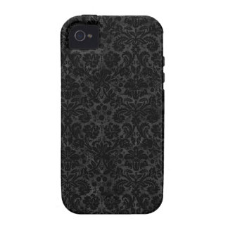 Black Charcoal Damask iPhone 4 Cases