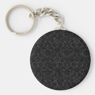 Black Charcoal Damask Key Chains