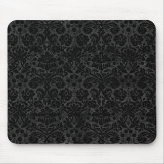 Black Charcoal Damask Mouse Pad