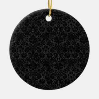 Black Charcoal Damask Ornaments