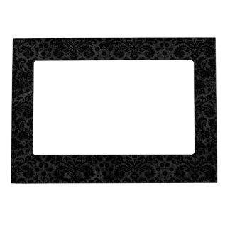 Black Charcoal Damask Photo Frame Magnet