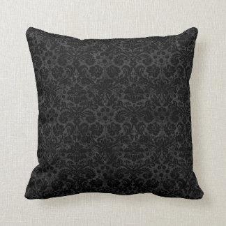 Black Charcoal Damask Pillow