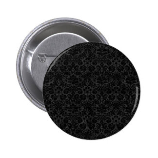 Black Charcoal Damask Pinback Button