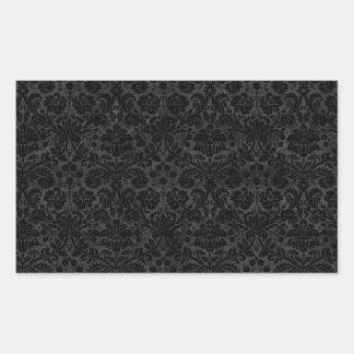 Black Charcoal Damask Rectangular Sticker