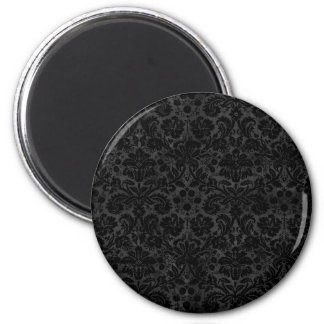 Black Charcoal Damask Refrigerator Magnet