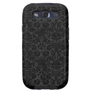 Black Charcoal Damask Samsung Galaxy S3 Cases