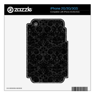 Black Charcoal Damask Skin For The iPhone 3