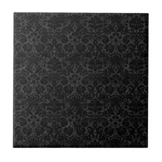 Black Charcoal Damask Tiles