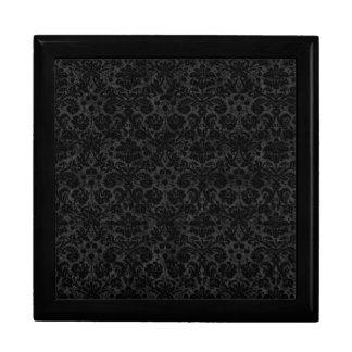 Black Charcoal Damask Trinket Boxes