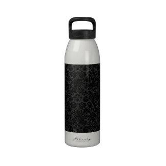 Black Charcoal Damask Water Bottle