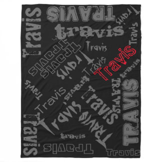 Black, Charcoal Gray and Red Blanket Name Collage