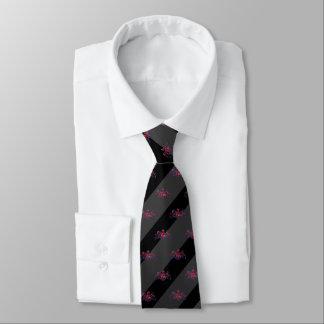 Black & Charcoal Grey Stripe Red U.J. Lion Emblem Tie