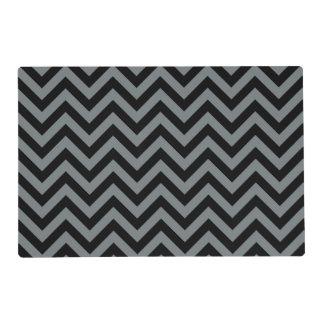 Black, Charcoal Large Chevron ZigZag Pattern Placemat
