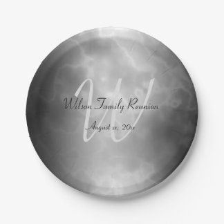 Black Charcoal Marble Personalized Paper Plate