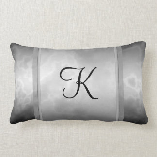 Black Charcoal Marble Personalized Throw Pillow