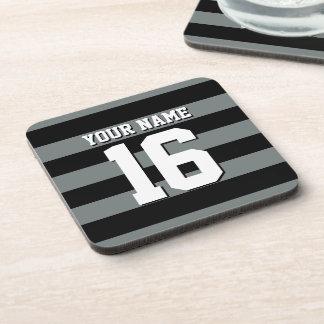 Black Charcoal Team Jersey Preppy Stripe Beverage Coaster