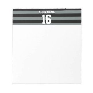 Black Charcoal Team Jersey Preppy Stripe Notepad