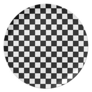 black check patterns dinner plates