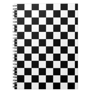 Black Checkerboard Pattern Spiral Notebook