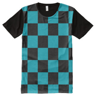 Black Checkerboard with your color All-Over-Print T-Shirt