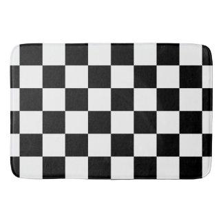 Black Checkered Bath Mat