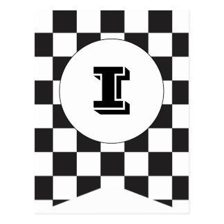 Black Checkered Flag Bunting Banner Post Card
