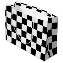 Black Checkered Large Gift Bag