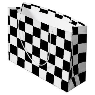 Black Checkered Large Gift Bag