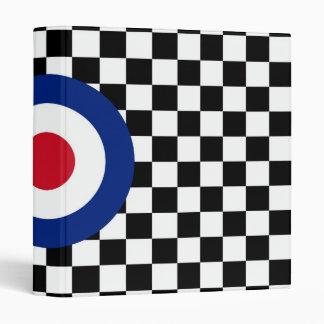 Black Checkered Mod Racing Pattern 3 Ring Binders