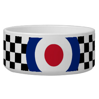 Black Checkered Mod Racing Pattern Bowl