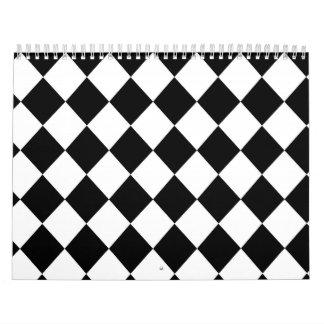 Black Checkered Mod Racing Pattern Calendar