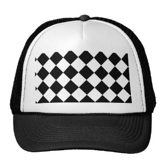 Black Checkered Mod Racing Pattern Trucker Hat