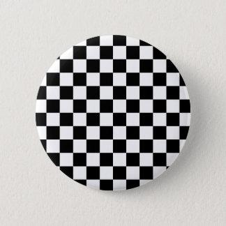 Black Checkered Mod Racing Pattern Pinback Button