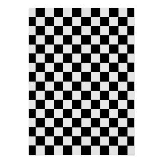 Black Checkered Pattern Poster