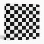 Black Checkered Racing Pattern Speedway Checkers 3 Ring Binder