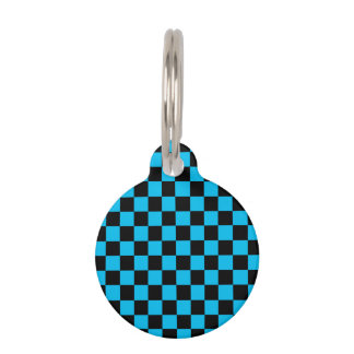 Black checkers on blue background pet name tag