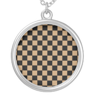 Black checkers on brown background round pendant necklace