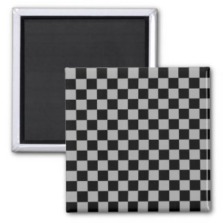 Black checkers on gray background 2 inch square magnet